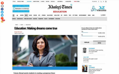 Education - making dreams come true, article by Vandana Mahajan in Khaleej Times