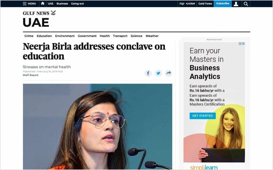 Neerja Birla addresses conclave, Gulf News